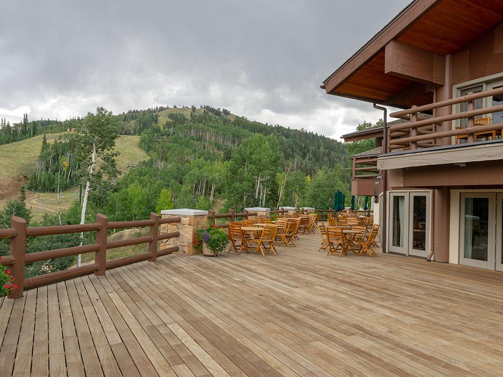 Outdoor dining deck at Stein Eriksen