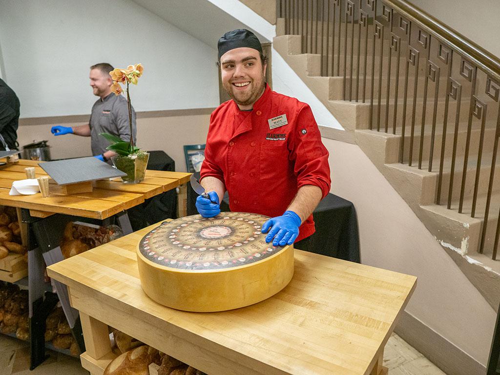 Feast of The Five Senses - Harmons unveils cheese wheel (Gastronomic SLC)