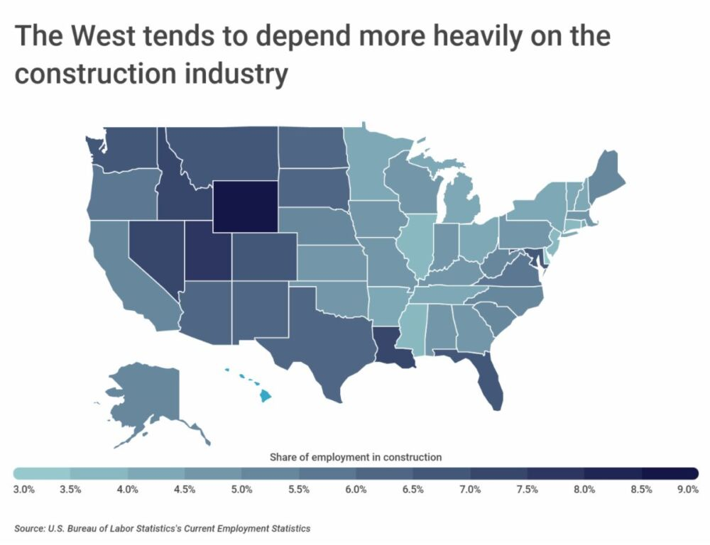 Utah Has the 2nd Largest Share of Employment in Construction